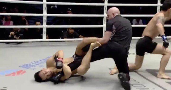 VIDEO: Peleador de MMA le hace palanca de rodilla al referí cuando intenta separar la pelea
